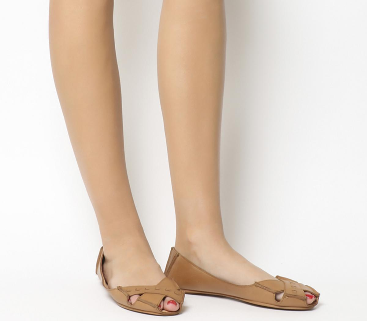 Office Face To Face Peep Toe Flats Tan