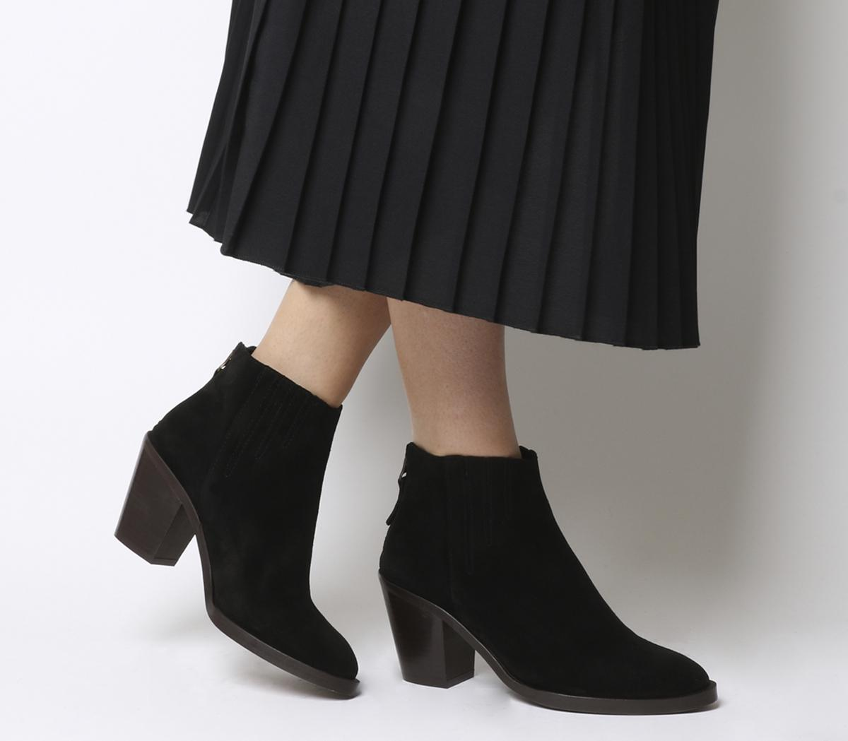 Black Suede Brown Heel - Ankle Boots