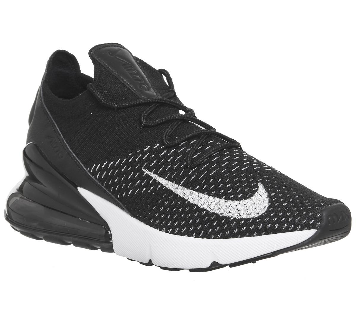 Niños De todos modos dominio  Nike Air Max 270 Flyknit Black White White - Hers trainers