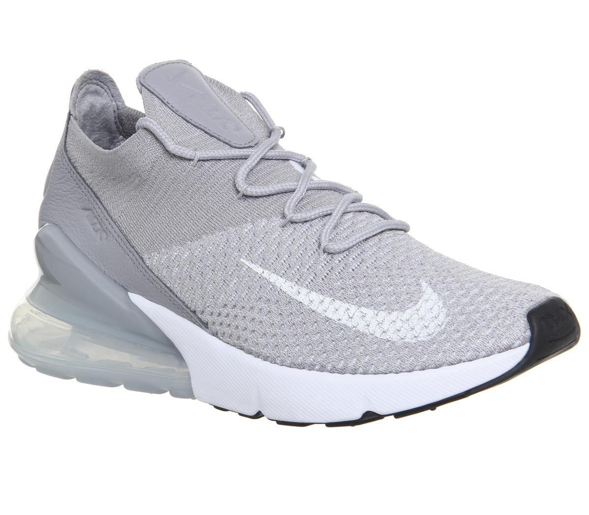 | NIKE Men's Air Max 270 Flyknit, WhitePure