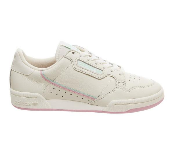 adidas Continental 80s Trainers Off White True Pink Clear Mint - Hers trainers iezuj0F