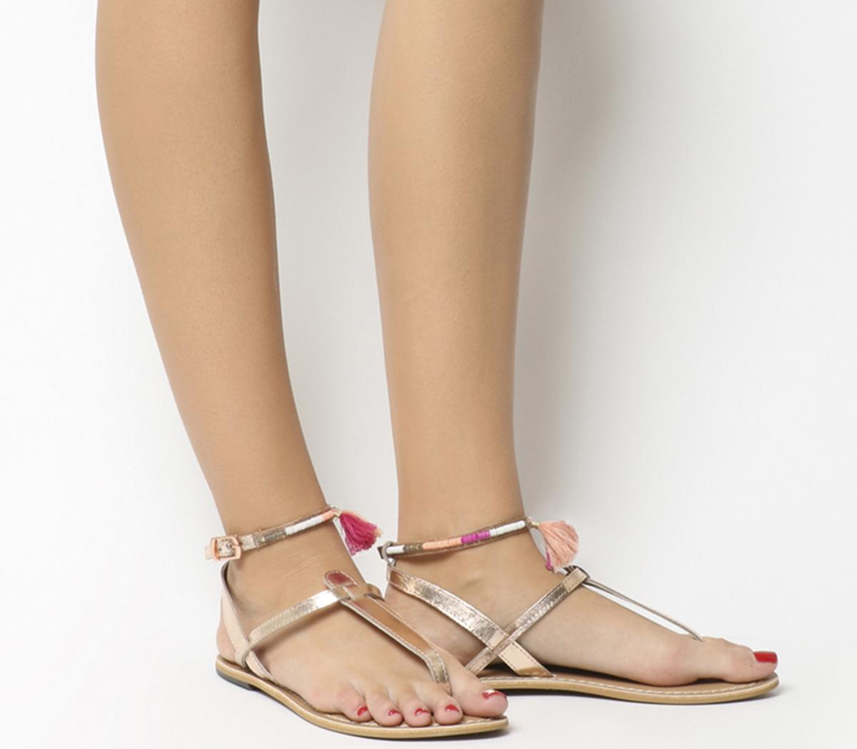 Salsa Tassel Ankle Strap Toe Post Sandals