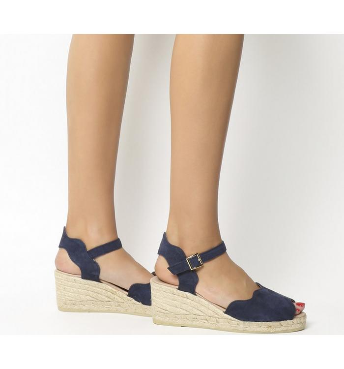 Gaimo for OFFICE Gaimo for OFFICE Round Wedge Espadrille NAVY SUEDE