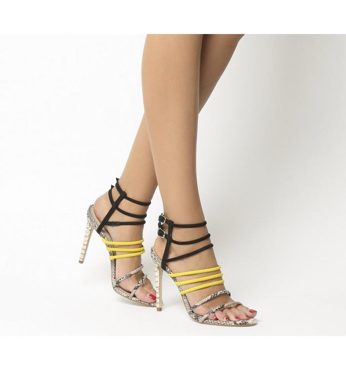 N/A Office Hockey Tubular Strap Heels SNAKE YELLOW BLACK