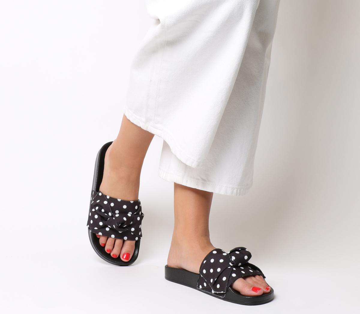 Office Summertime Polka Dot Bow Slides