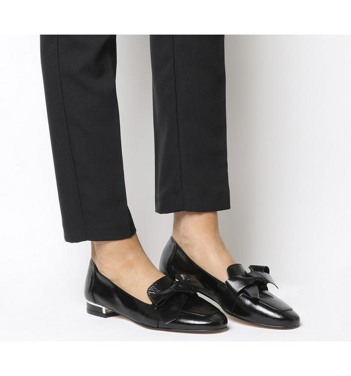 Office Office Friend Square Toe Bow Loafer BLACK LEATHER WITH METAL HEEL CLIP