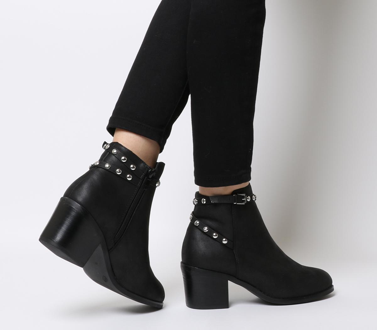Office Attract Stud Ankle Strap Boots