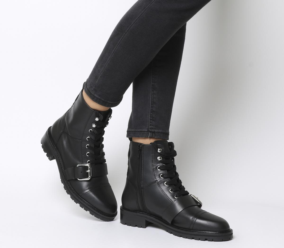 Office Armour Lace Up Buckle Boots