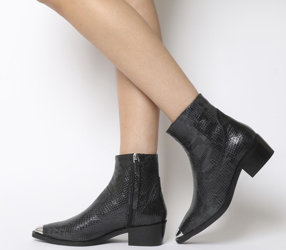 Black Snake Leather - Ankle Boots