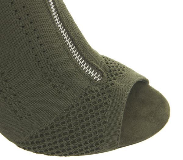 Office Highway Block Heels Khaki Knit - High Heels UG5M4uY