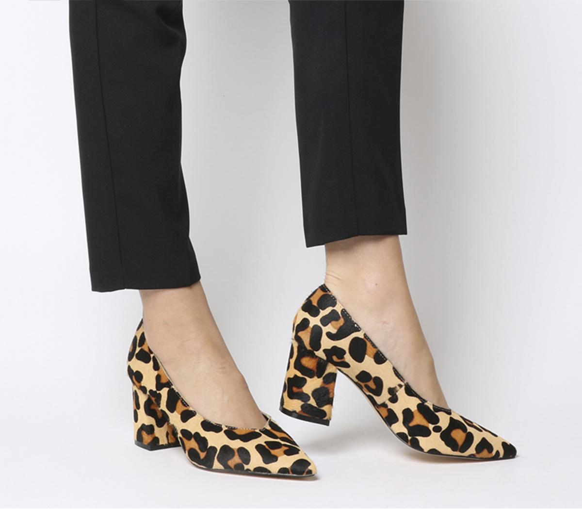 leopard pointed heels