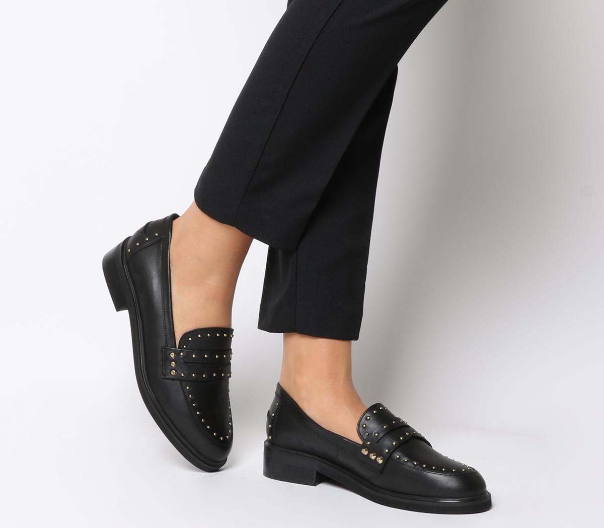 Office Favourite Studded Loafers Black