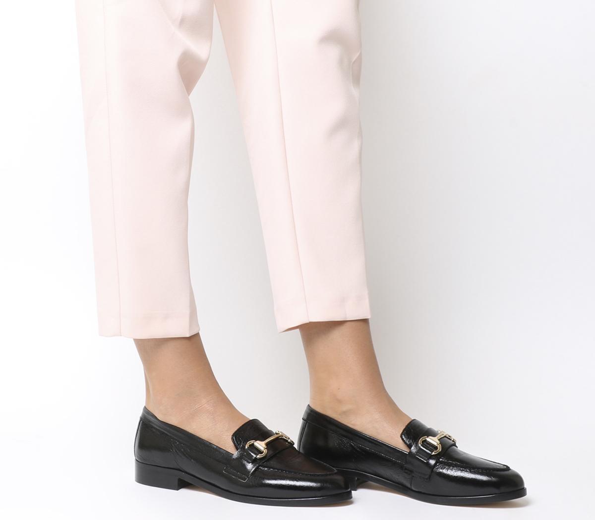 Womens Ladies Black Flat Loafer Pump Work Girls School Office Comfort Shoe Size