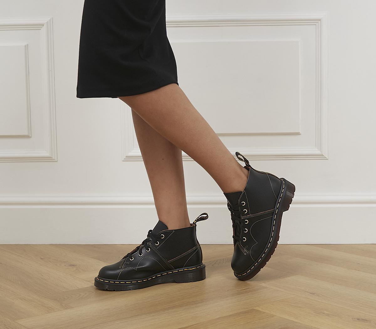 Fragrante tubercolosi audacia  Dr. Martens Church 5 Eye Monkey Boots Black Vintage Smooth - Ankle Boots
