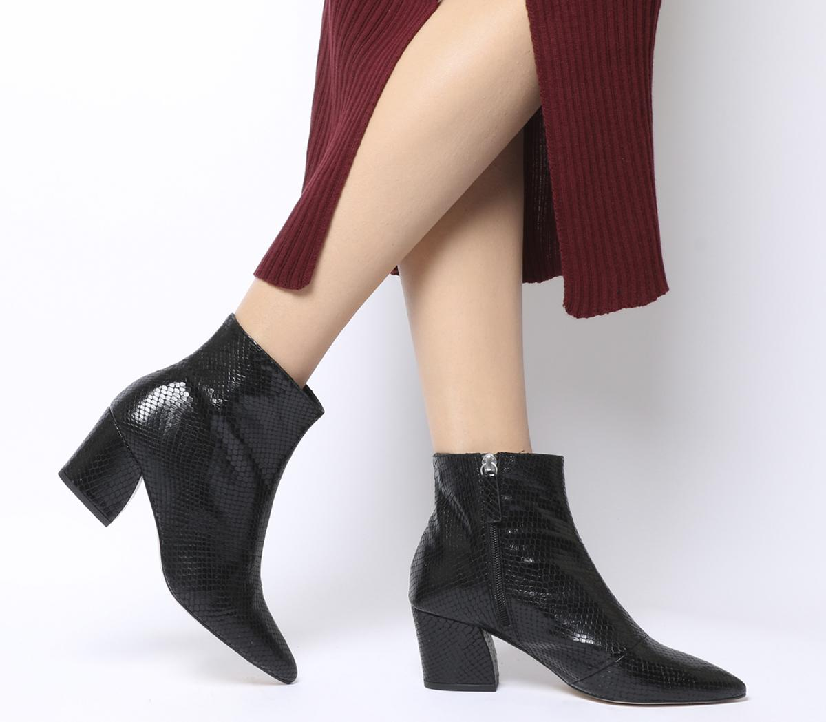 Aubergine Curved Heel Ankle Boot