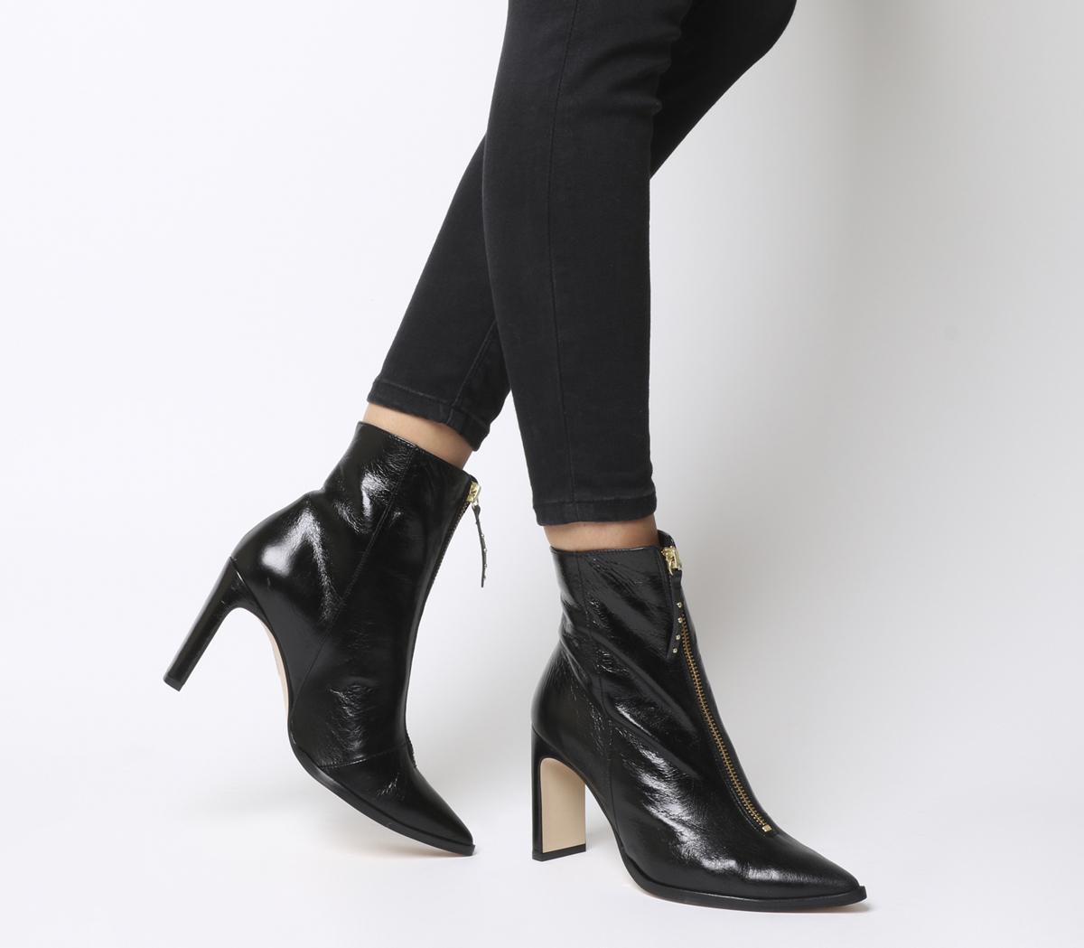 Avenge Front Zip Heeled Boots