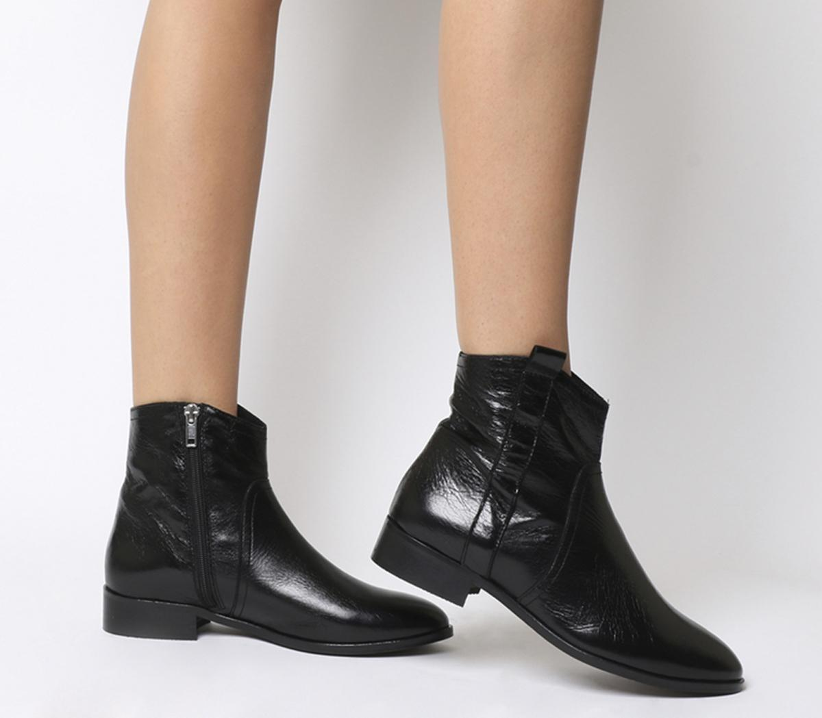 Office Amuse Western Flat Boots Black