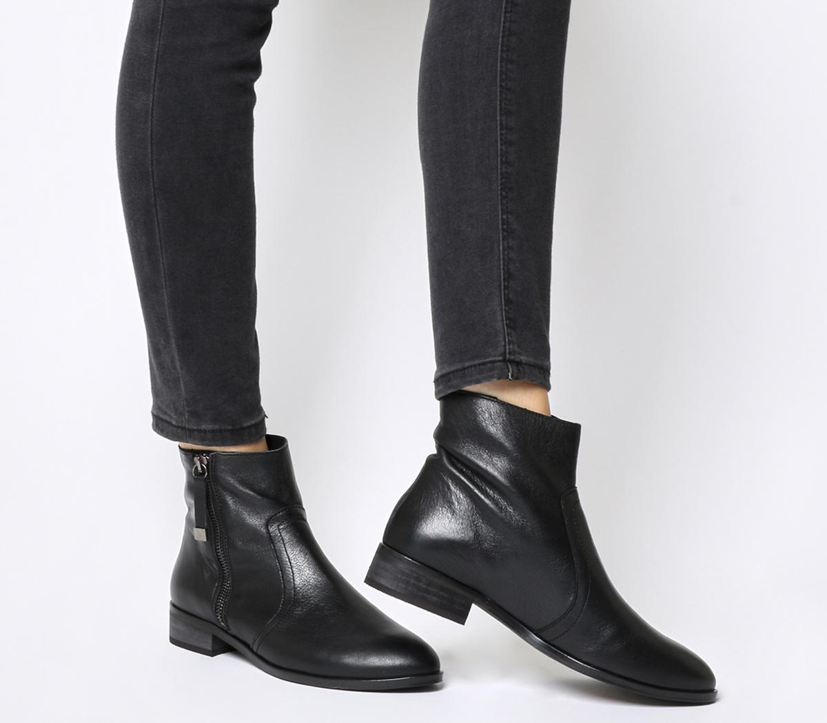 Side Zip Flat Ankle Boots Black Leather