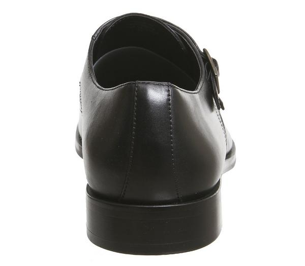 Office Import Brogue Monk Shoes Black Leather - Smart OfsCNQV