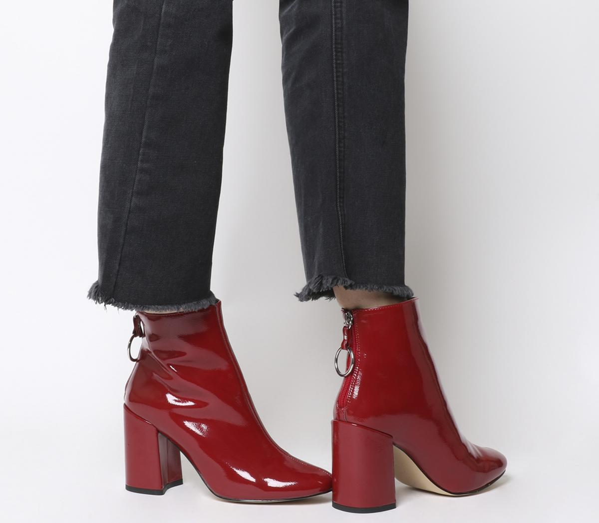heeled patent ankle boots
