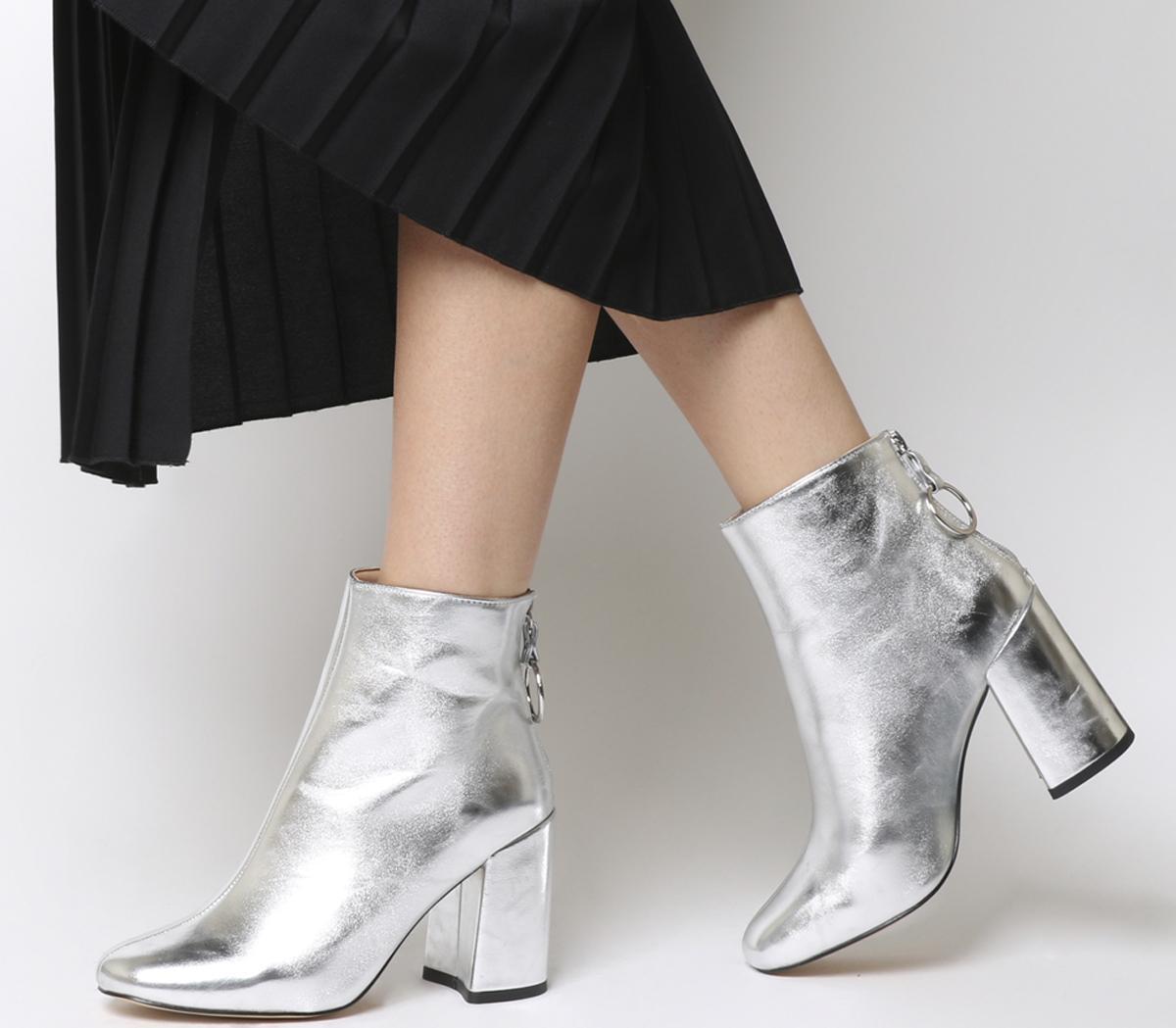 Office Argon Block Heel Back Zip Boots