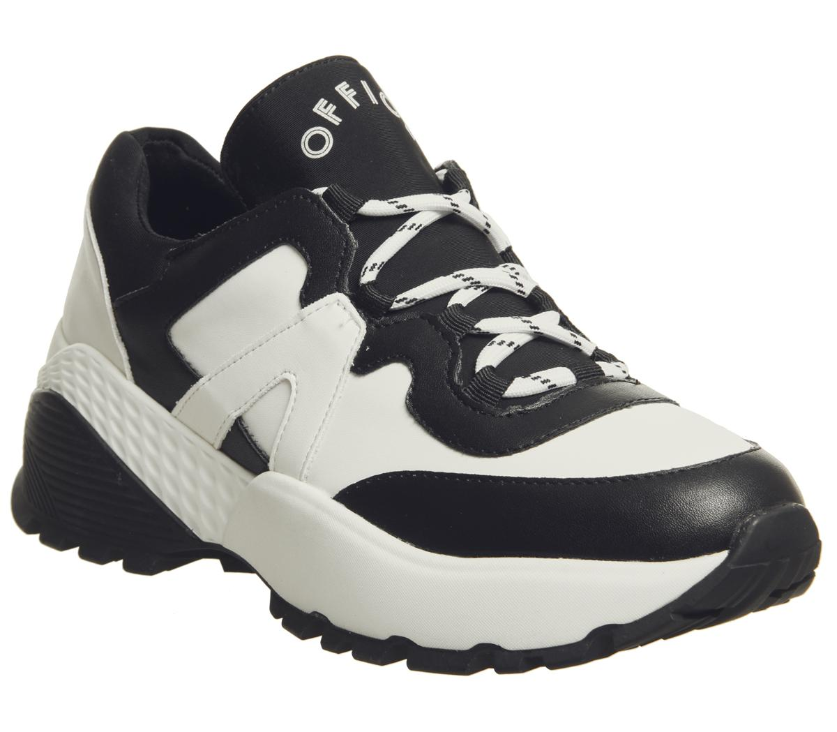 Womens Office Freestyler Hiker Lace Ups White And Black Flats