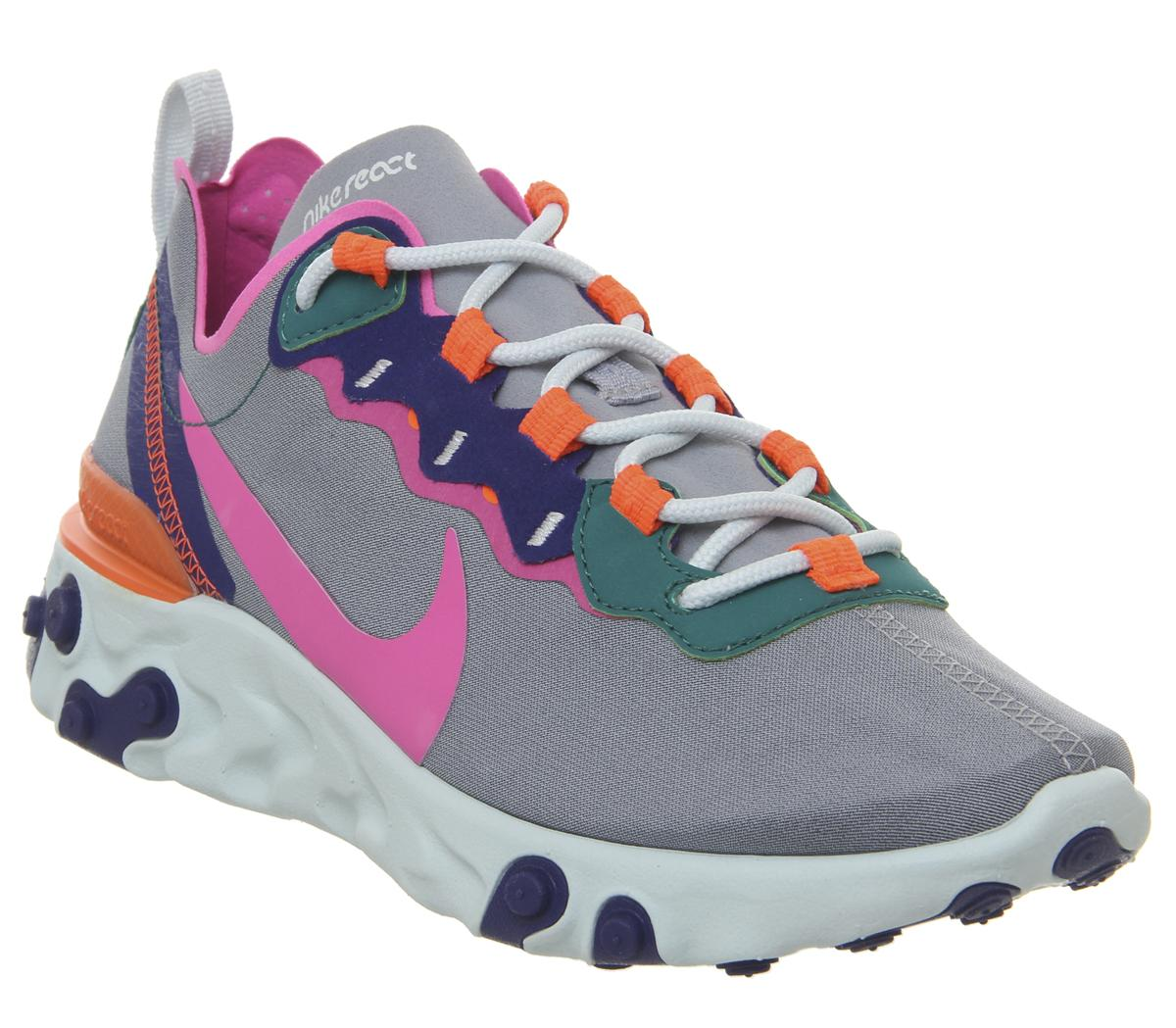 Nike React Element 55 Trainers Wolf