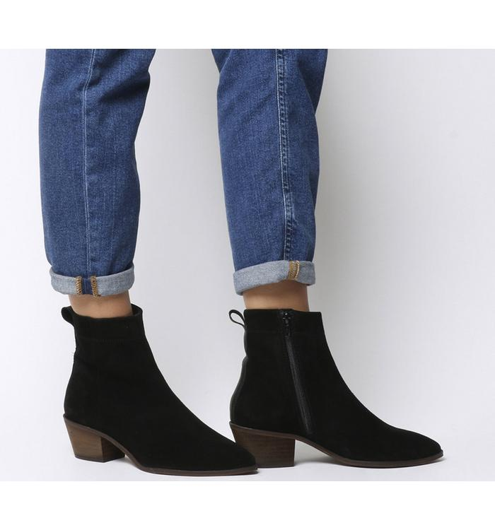 Office Office Amarillo- Stitch Detail High Cut Boot BLACK SUEDE