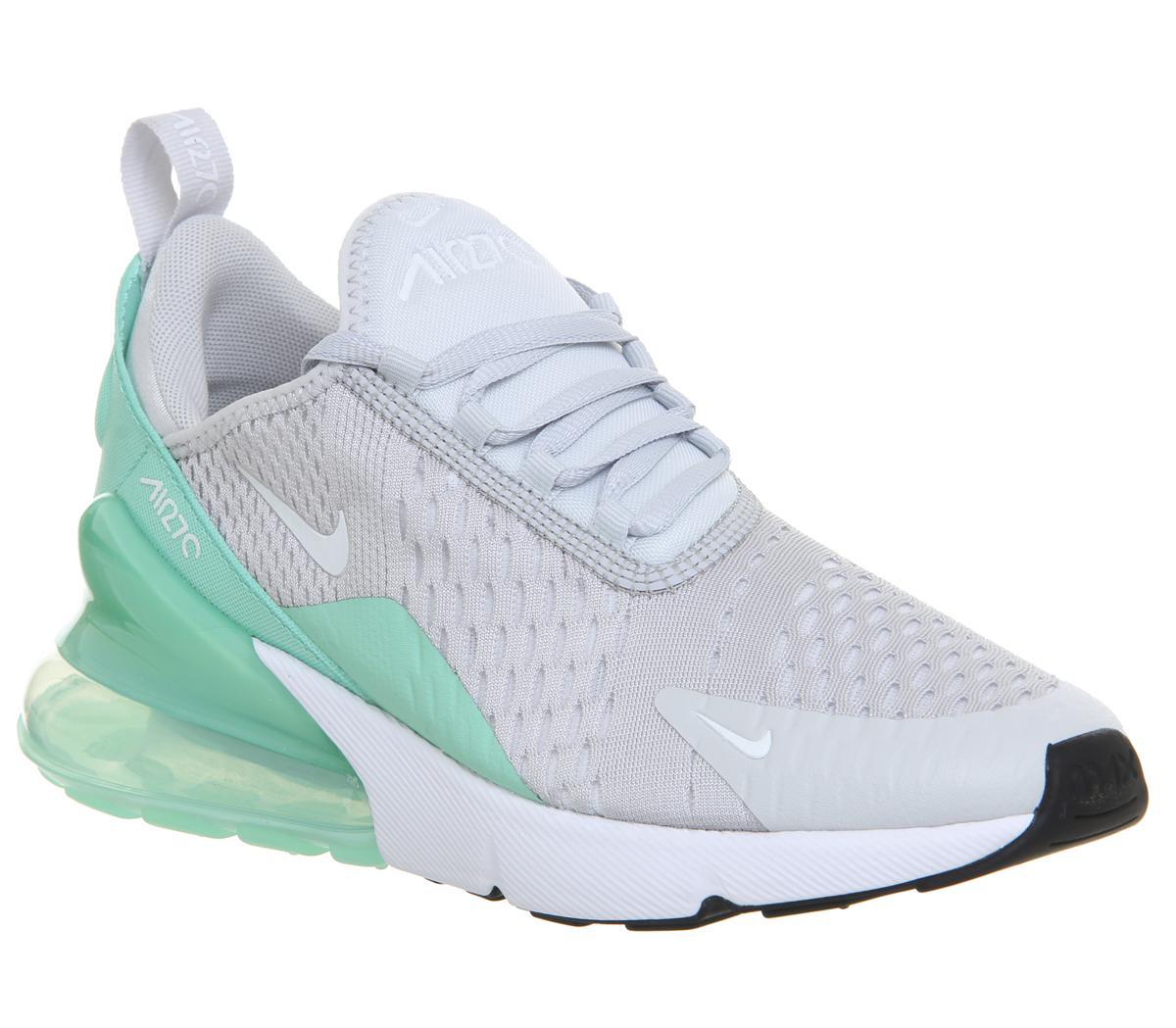 estilo limitado proporcionar una gran selección de diseño exquisito Nike Air Max 270 Gs Trainers Pure Platinum White Emerald Rise - Unisex
