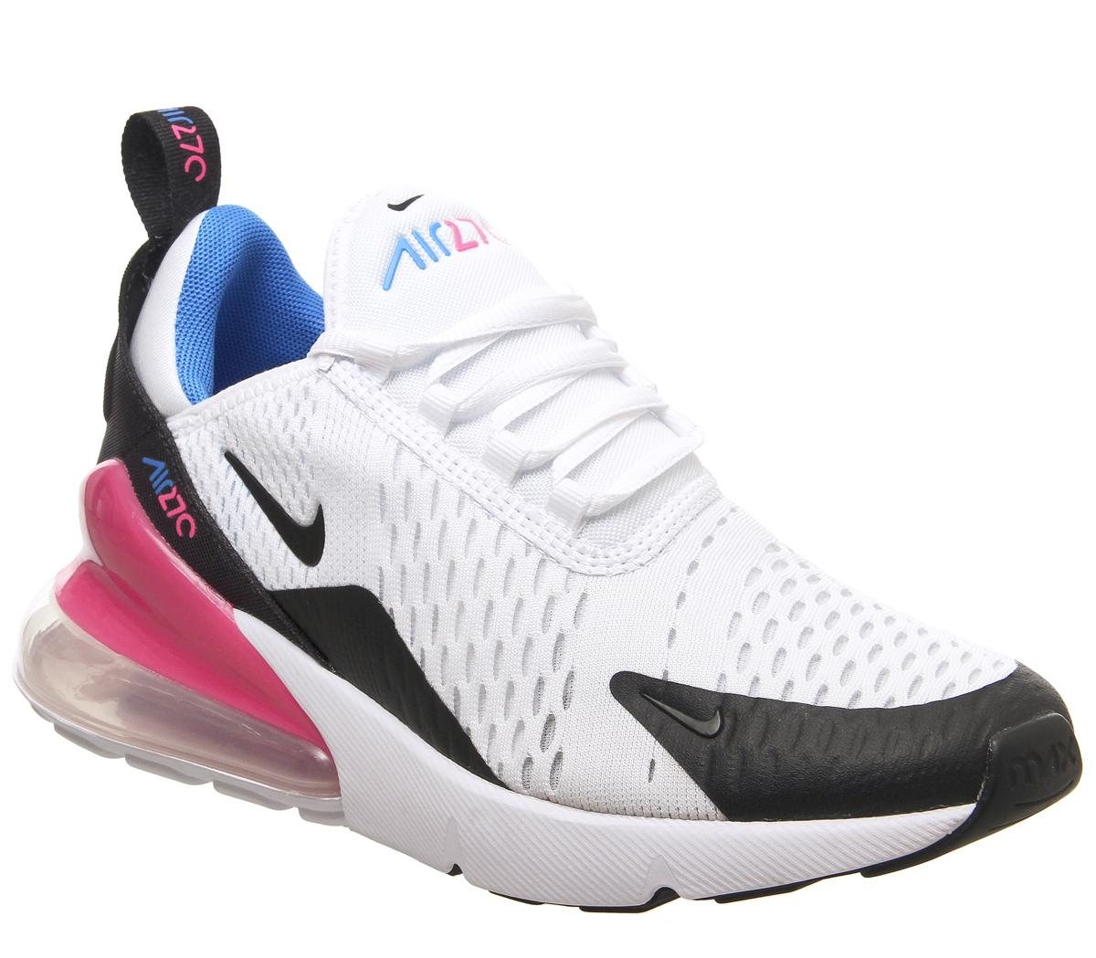 estremamente unico vendita a buon mercato usa stile distintivo Nike Air Max 270 Gs Trainers White Black Hyper Pink Photo Blue ...