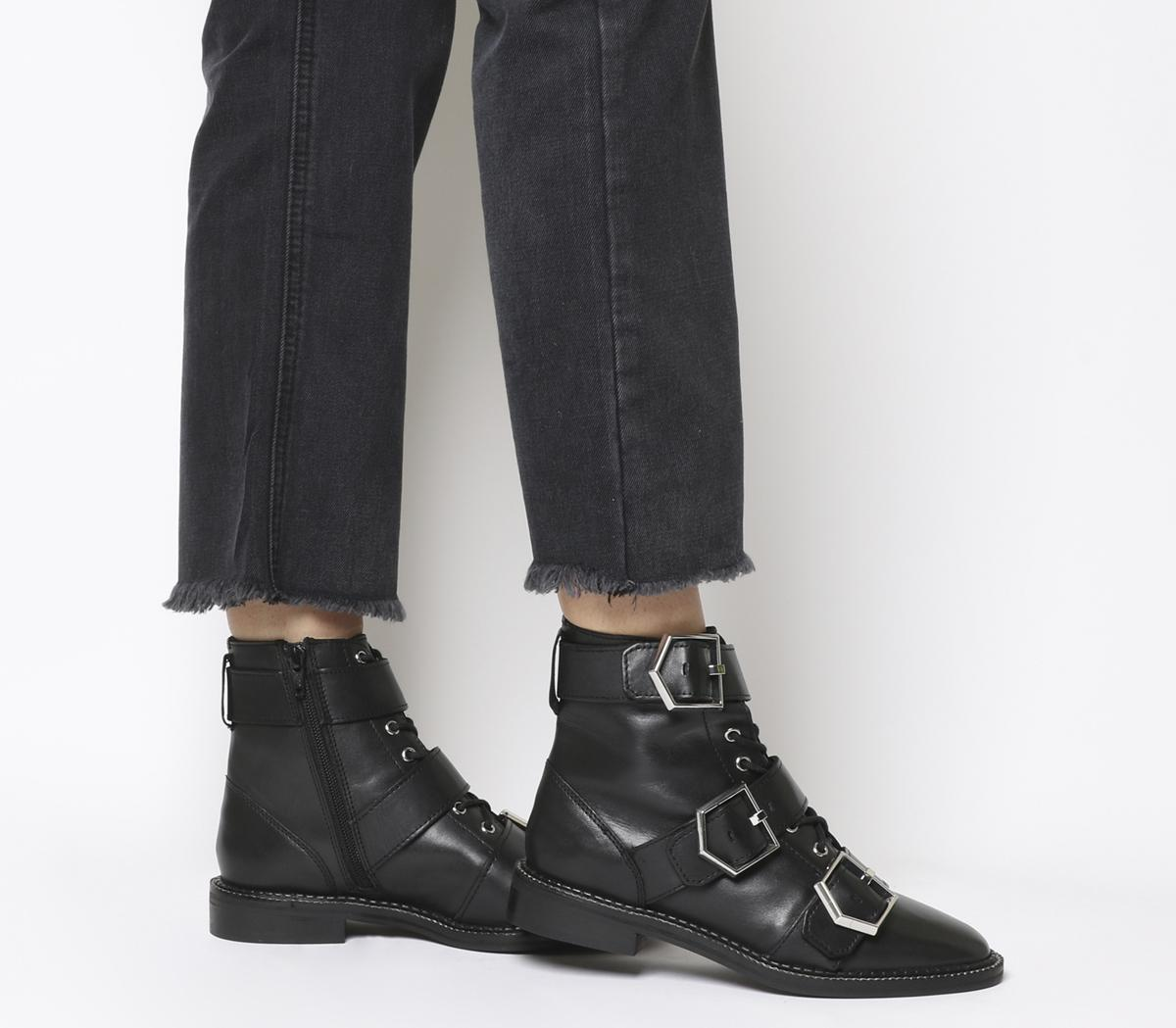 Office Armory-flat Buckle Lace Up Boot