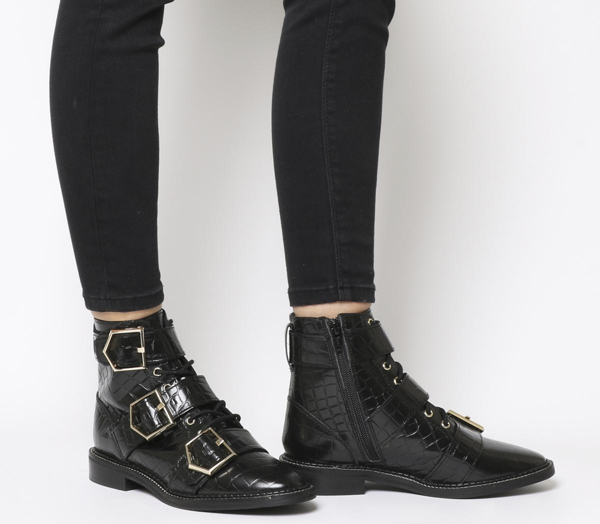 Armory Buckle Lace Up Boots