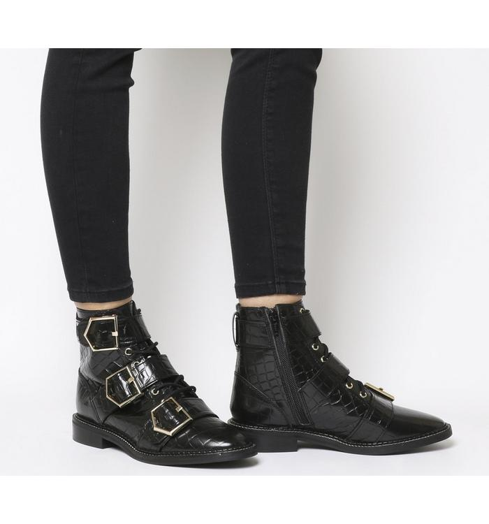 Office Office Armory-flat Buckle Lace Up Boot BLACK CROC LEATHER GOLD HARDWARE