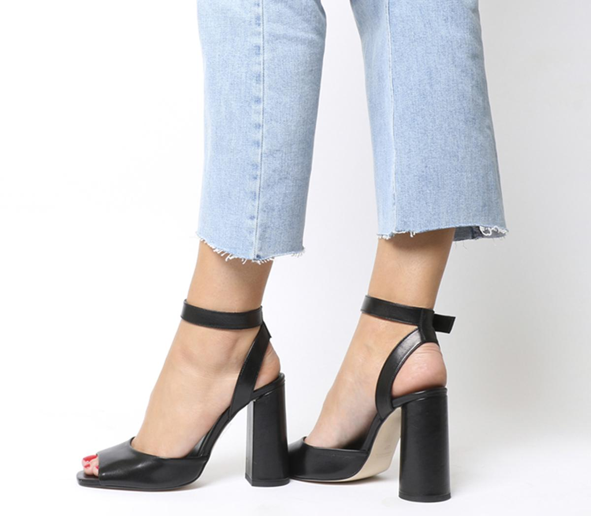 Office Heartly Ankle Strap Block Heels
