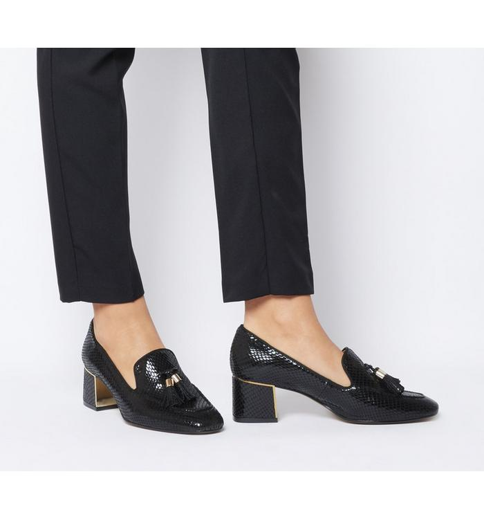 Office Office Move- Tassel Mid Block Shoe BLACK SNAKE WITH GOLD HEEL CLIP