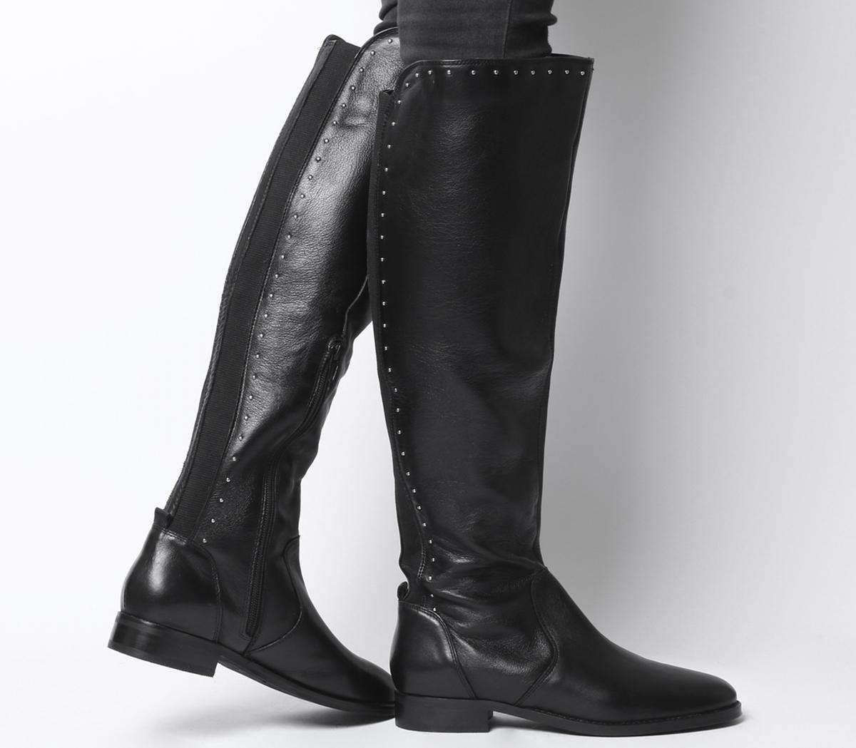 Office Kendra Studded Rider Boots Black