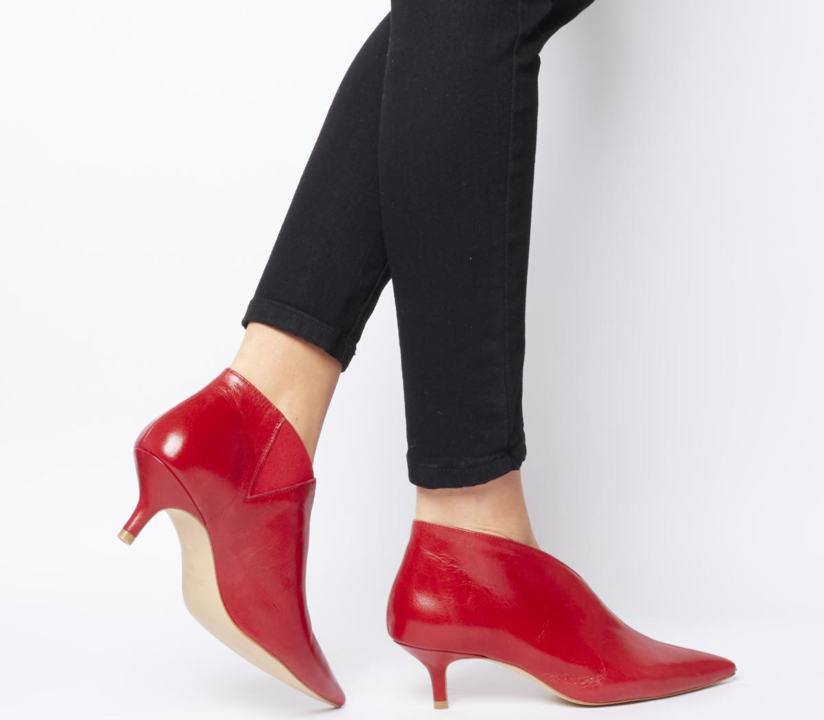 Office Me Low Shoe Boots Red Leather