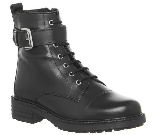 Office Alpaca Buckle Lace up Biker Boots Black Leather - Ankle Boots kveJiPP
