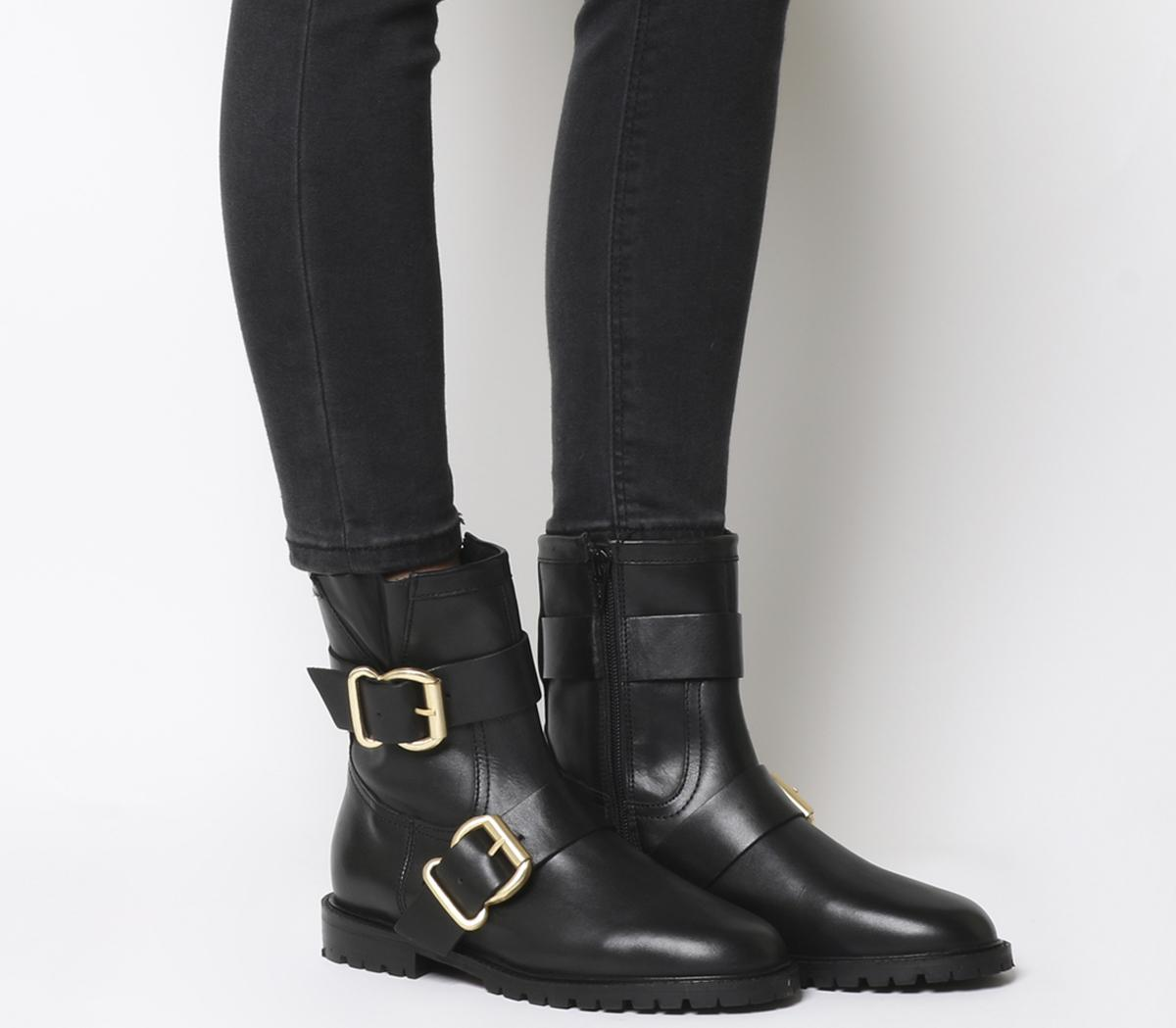Womens Office Alert Embellished Biker Boots Black Leather With Hardware Boots
