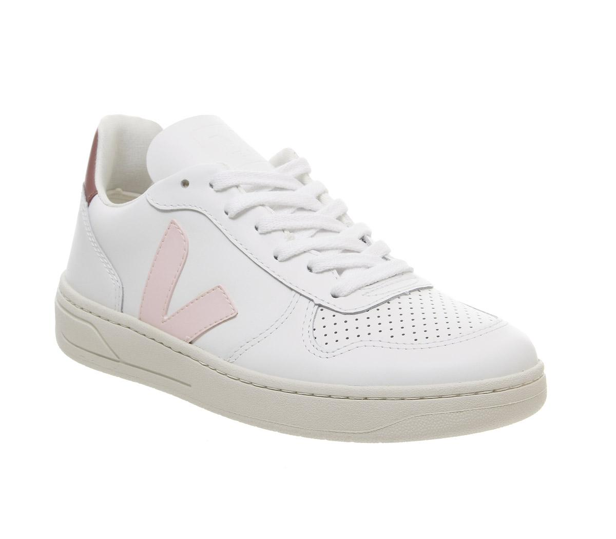 Sobrio cantidad Sinis  Veja V-10 Trainers White Petal Pink F - Hers trainers
