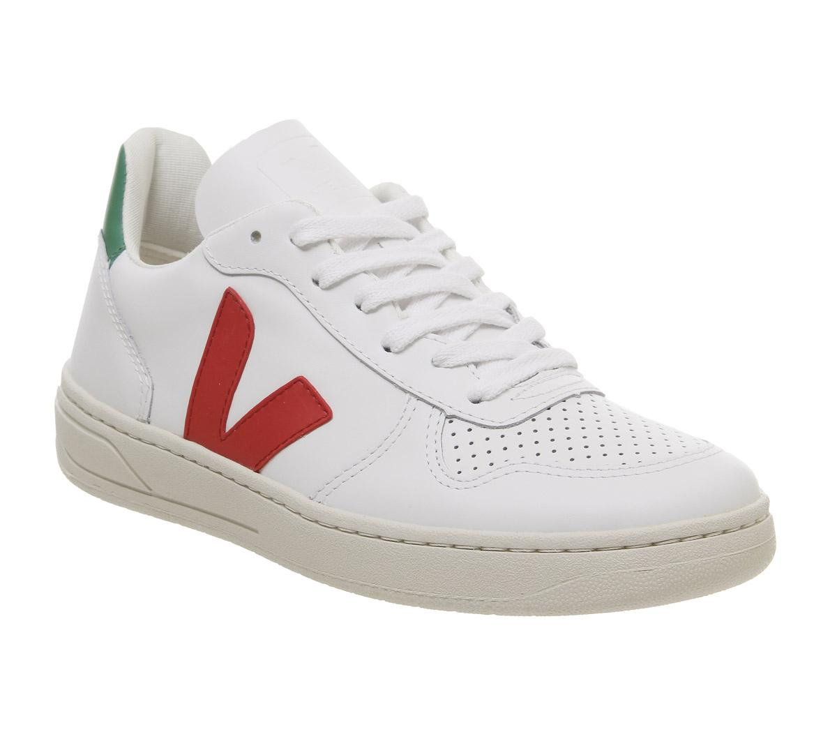 Veja V-10 Trainers White Green Red F