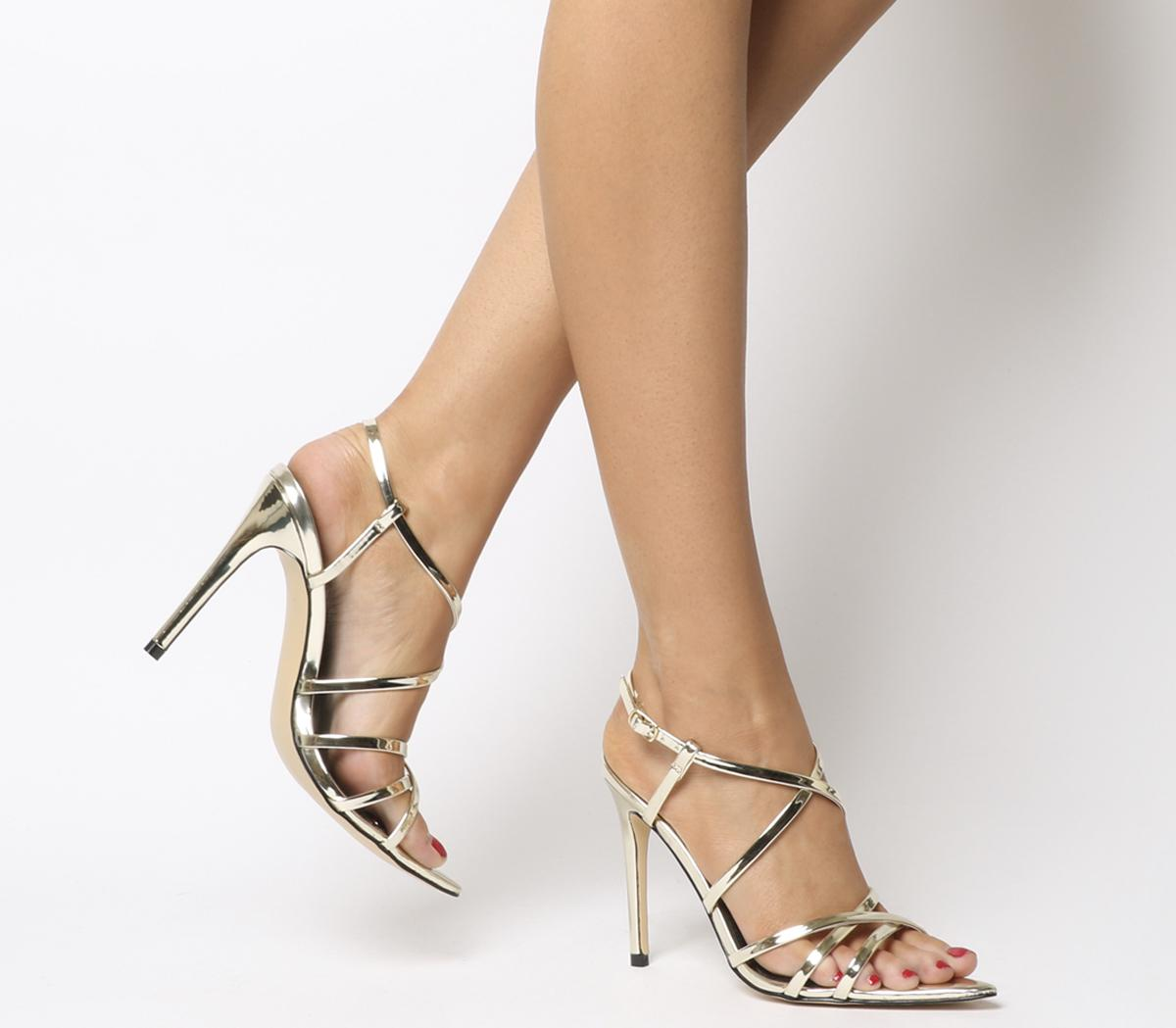 Heated Pointed Strappy Sandal Heels