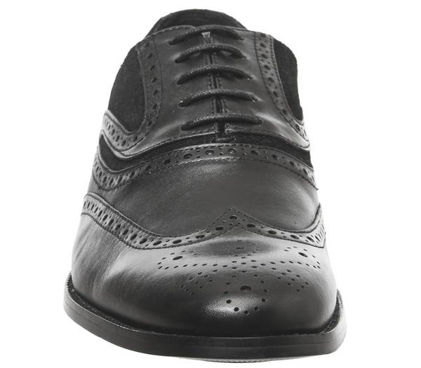 Office Infuse Brogues Black Suede Leather - Smart POS0WBr