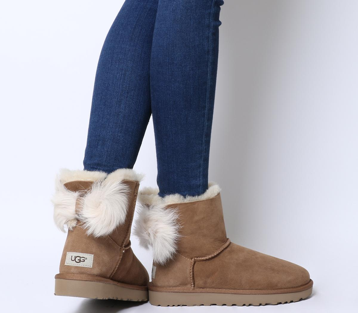 UGG Fluff Bow Mini Boots Chestnut