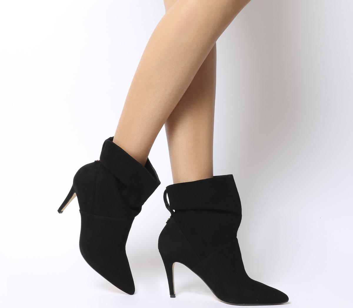 nice cheap hot products stable quality Office Aura- Dressy Ruched Mid Heel Ankle Boot Black Suede - Ankle ...
