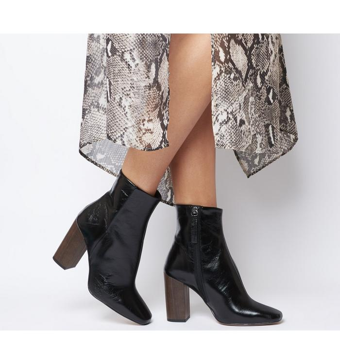 Office Office All Right- Block Heel Boot BLACK LEATHER WOOD EFFECT HEEL
