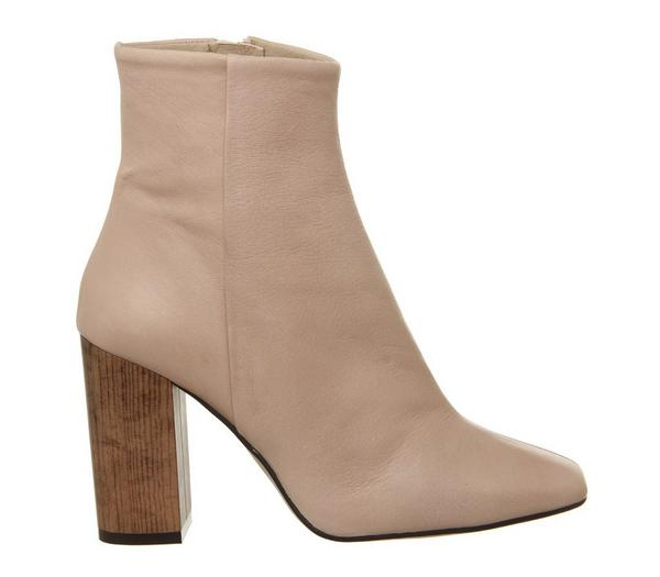Office All Right Block Heel Boots Nude Leather Wood Effect Heel - Ankle Boots bOs1NiT