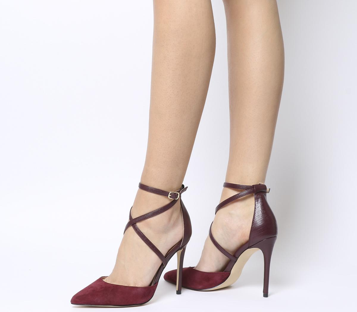 Herald Cross Strap Point Court Heels