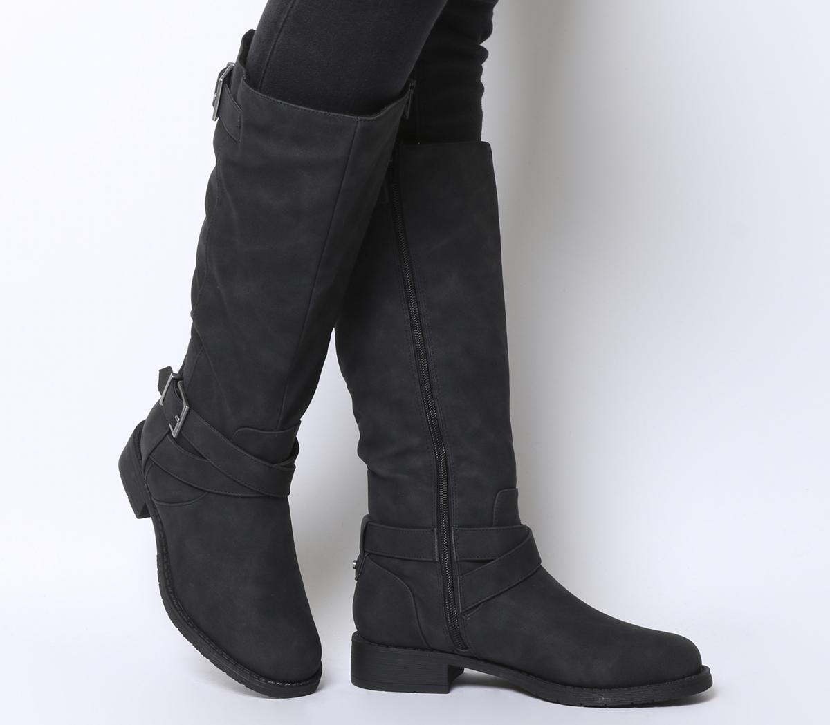 Office Kamel Biker Knee Boots Black Fur