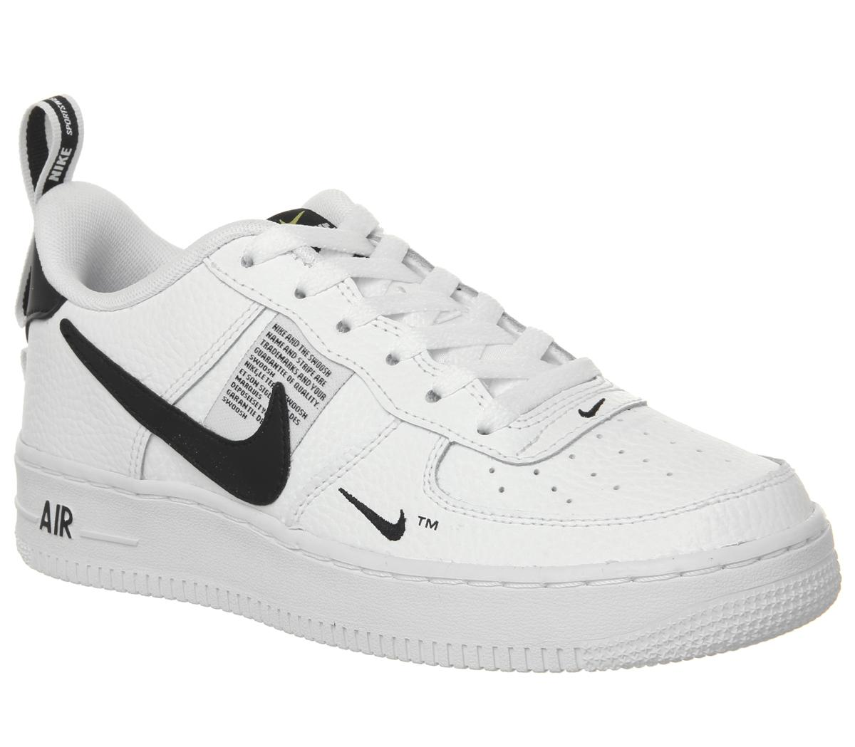 siguiente simbólico Indirecto  Nike Air Force 1 Lv8 Gs Trainers White White Black Tour Yellow - Hers  trainers